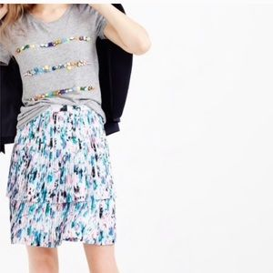J Crew Two Tier Pleated Skirt in Watercolor Floral